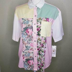 Laura Daniels Multi-Media Color-Block Shirt PL NWT